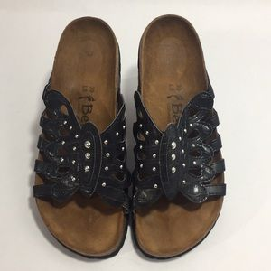 Birkenstock Betula Black Leather Studded Sandals